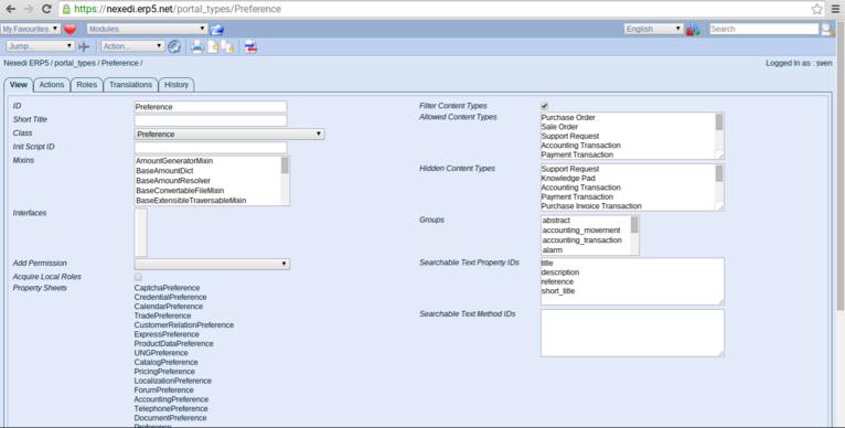 ERP5 HowTo | Create Templates - Screenshot Preferences