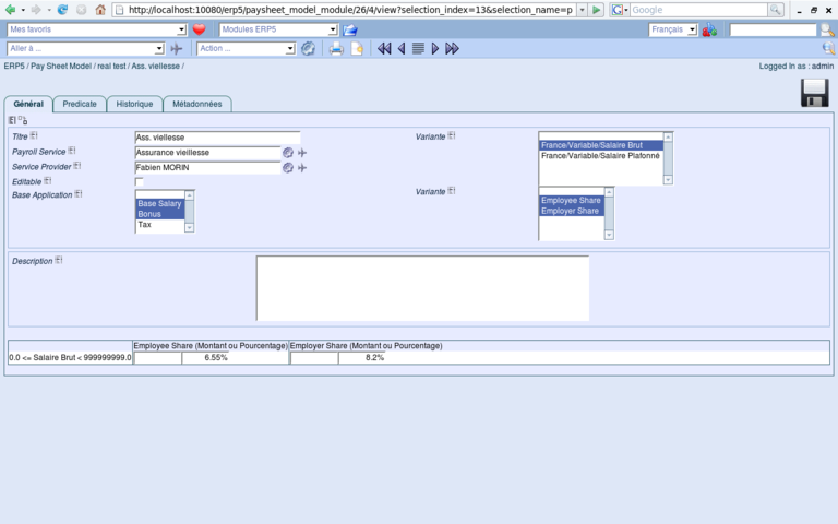 ERP5 Screenshot Paysheet Model Line
