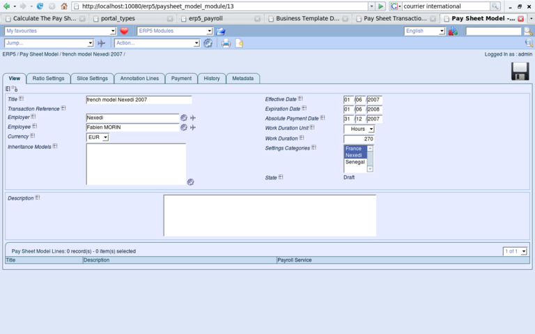 ERP5 Screenshot Paysheet Model View