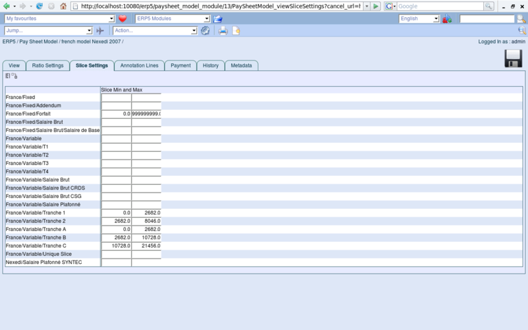 ERP5 Screenshot Paysheet Settings