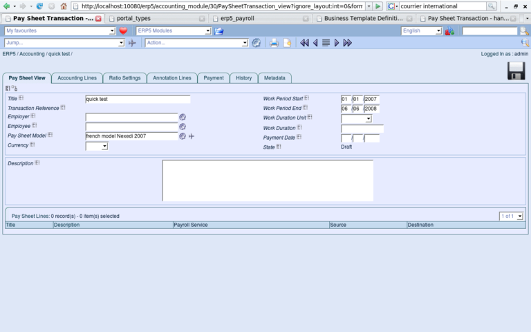 ERP5 Screenshot Paysheet Transaction View