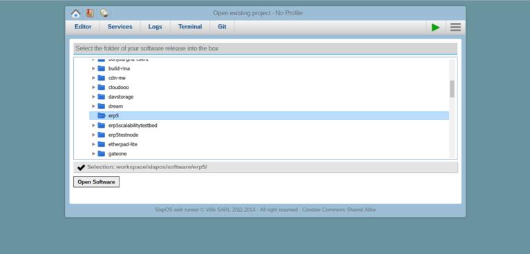 Requesting a Webrunner with ERP5 - SlapOS Webrunner Select Software Release
