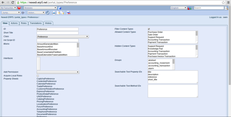 ERP5 HowTo | Create Templates - Screenshot Preferences
