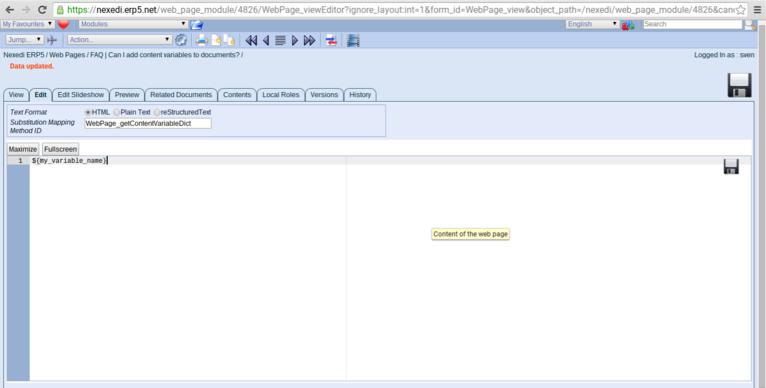 ERP5 FAQ | Content Variables - Screenshot Setting a Variable