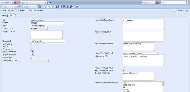 ERP5 Documentation | Screenshot Person Module Propery Sheet, Adress Property