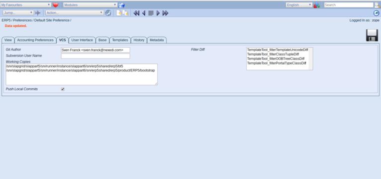 ERP5 | Open Source ERP - Screenshot Preferences VCS Working Copies