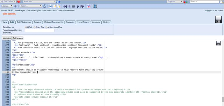 ERP5 Guidelines   Documentation and Content Guidelines - Screenshot Good Usage